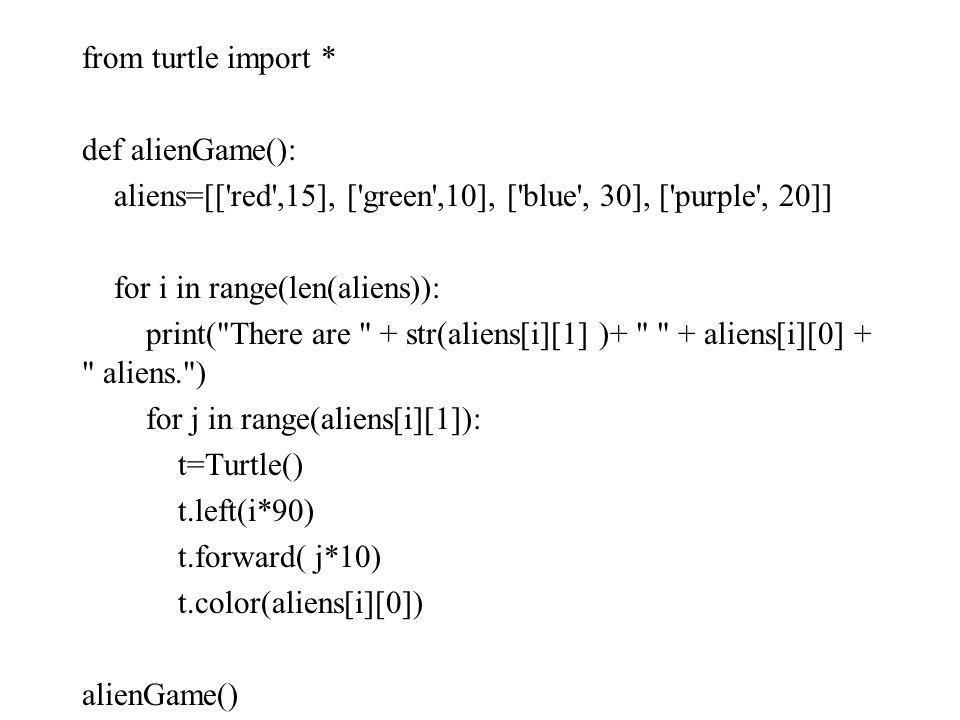 from turtle import * def alienGame(): aliens=[[ red ,15], [ green ,10], [ blue , 30], [ purple , 20]] for i in range(len(aliens)): print( There are + str(aliens[i][1] )+ + aliens[i][0] + aliens. ) for j in range(aliens[i][1]): t=Turtle() t.left(i*90) t.forward( j*10) t.color(aliens[i][0]) alienGame()